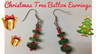 Christmas Tree Earrings From Recycled Buttons