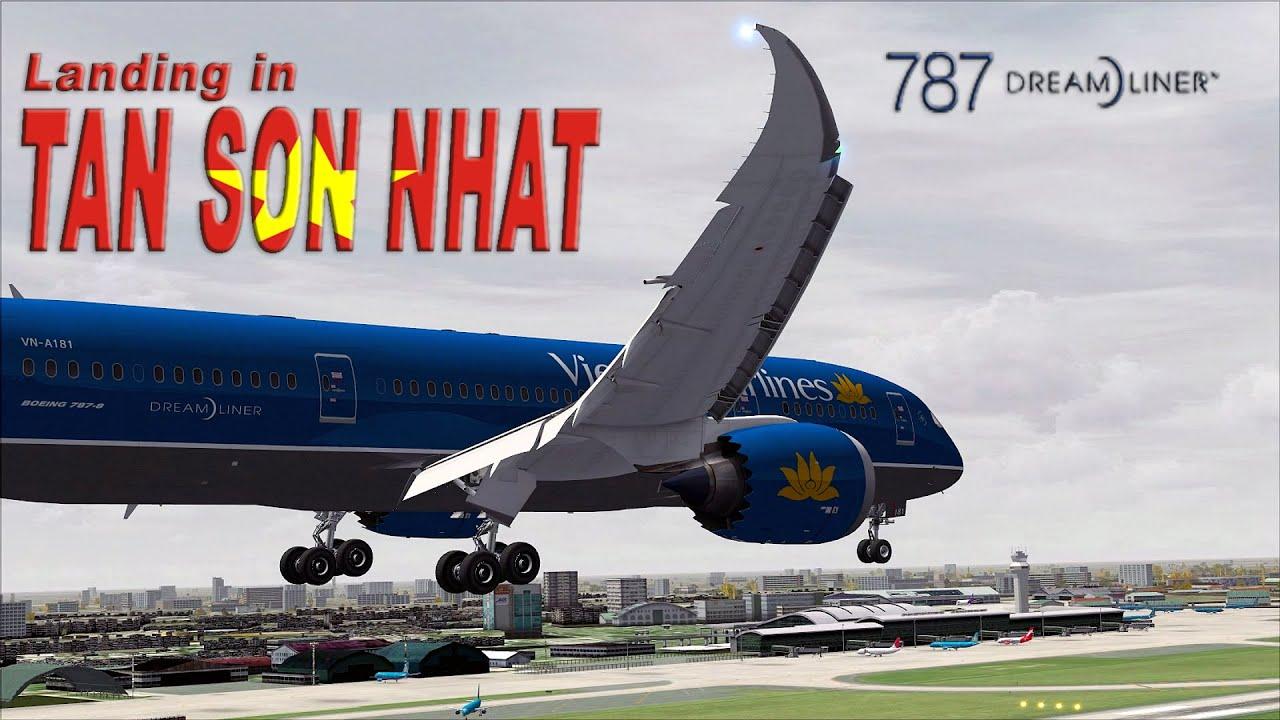 FSX 2015 - Tan Son Nhat Landing - Aerosim 787 - Vietnam Airlines - Cockpit  + Outside View