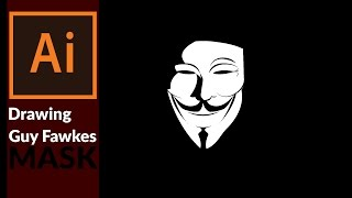 How to Draw Guy Fawkes Mask  (V for Vendetta) in Adobe Illustrator  - Black and white flat design
