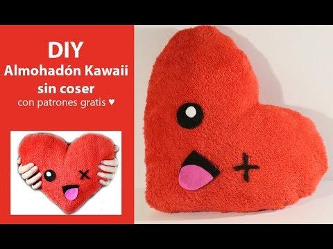 DIY: Almohadón Kawaii sin coser / Patrones Gratis - YouTube