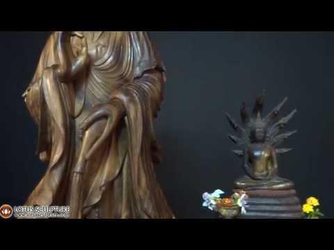 Beautiful Wooden Bodhisattva Kwan Yin Statue www.lotussculpture.com