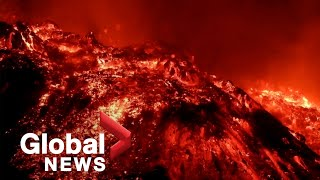 La Palma volcano: Stunning explosions of red-hot lava after crater collapses