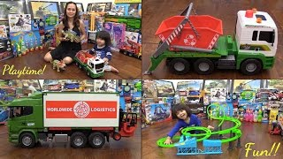 Kids' Toy Channel: Bruder Container Truck, Dickie Toys Dump Truck and Fastlane Racetrack Set