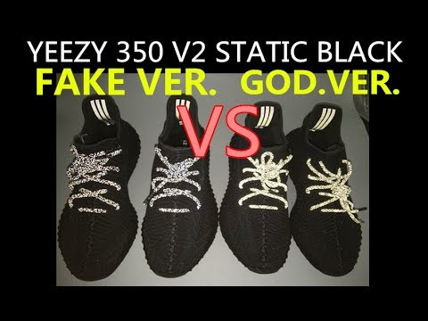 Comparison Adidas Yeezy Boost 350 V2 Static Black Real vs Fake FU9006