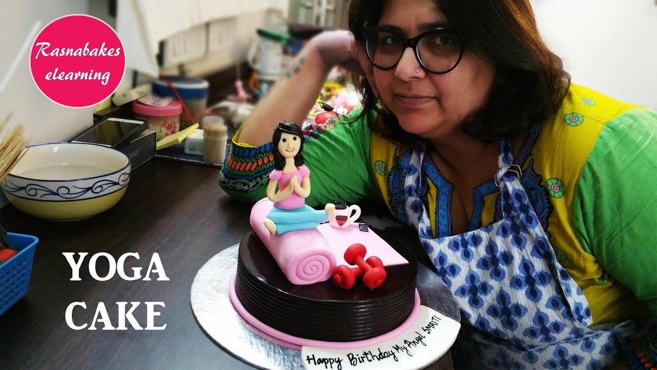 How To Make Girl On Yoga Mat Gym Fitness Birthday Cake Design Ideas Decorating Youtube
