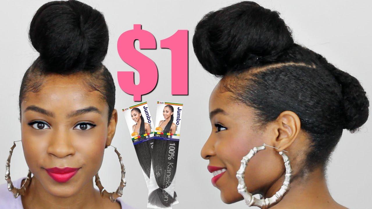 Faux Shaved Sides Top Knot Bun with Kanekalon Hair Natural ...
