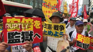 Japan  Protesters decry PM Abe during anniversary of Hiroshima bombing