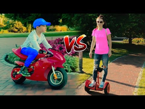 Hide and Seek on Sport Bike for kids and Mini Ninebot. Funny family playtime in park for children