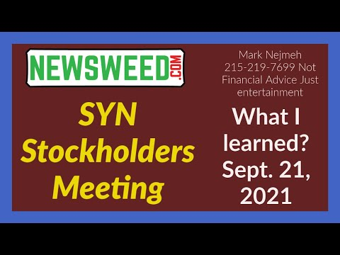 $SYN #SYN Synthetic Biologics stockholders meeting September 21, 2021