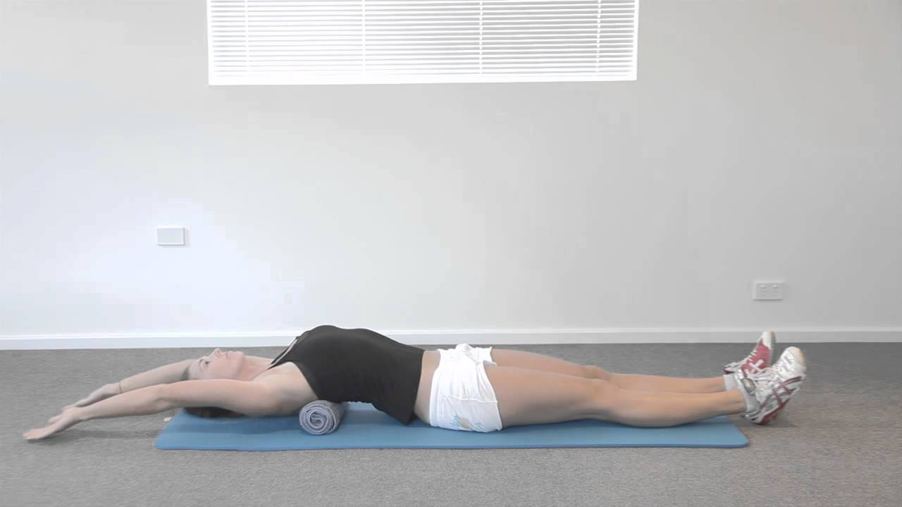 THORACIC ROTATION 01G Thoracic extension over towel - YouTube