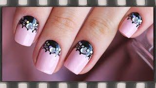 Лунный маникюр на коротких ногтях. Маникюр Кружево | Lace Nail Art Tutorial