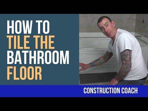 How to Tile the Bathroom Floor - DIY