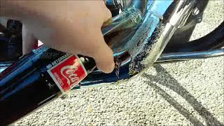 Remove Rust & Corrosion from Motorcycle Chrome w/ COKE !!!