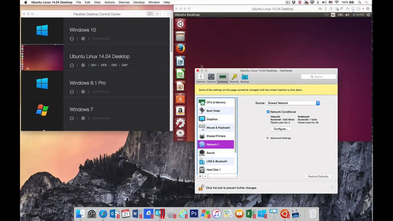 Network Simulation in Parallels Desktop 11 for Mac Pro Edition