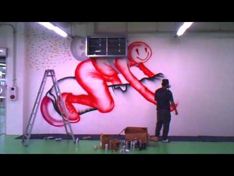 David Choe Painting Good Smile Offices In Japan 2014