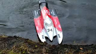 High Speed Brushless DRAG RACE SETUP, F1 FORMULA 1 RC CHAMPBOAT! Boat 6S Lipo, 4 POLE 58 MPH!