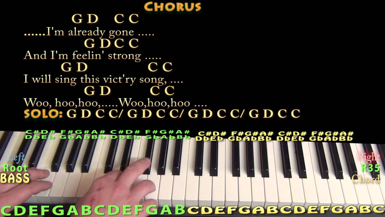 Already gone eagles piano lesson chord chart with on screen already gone eagles piano lesson chord chart with on screen lyrics hexwebz Image collections