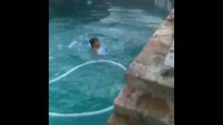 Chance trying to do a Gainer Flip into the pool
