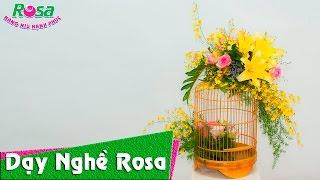 Cắm hoa tươi trong lồng chim ngộ nghĩnh