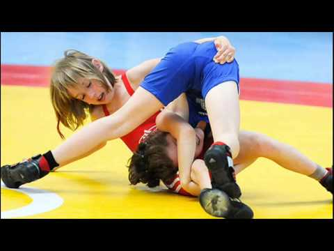 Teenage girl wrestlers wet