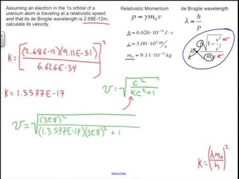 Relativistic Effects and de Broglie Wavelength: Chemistry Sample Problem