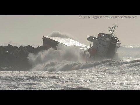 Shipwreck 'Luno' Port of Bayonne, France. 5th Feb 2014