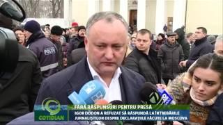 Igor Dodon a refuzat să răspundă la întrebările jurnaliștilor despre declarațiile făcute la Moscova