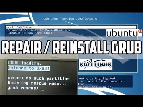 Grub Rescue : Repair, Restore Ubuntu | Kali Linux Grub Bootloader using  Live CD