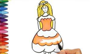 Come disegnare una principessa   Come disegnare e colora per i bambini
