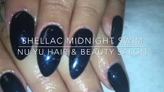 Cnd shellac midnight swim over acrylic