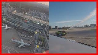 Air Berlin AB7001 - Wasserfontänen/Tiefflug von innen - MIA → DUS