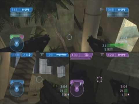 Halo 2 Multiplayer Gameplay Xbox Splitscreen Slayer in Ivory Tower