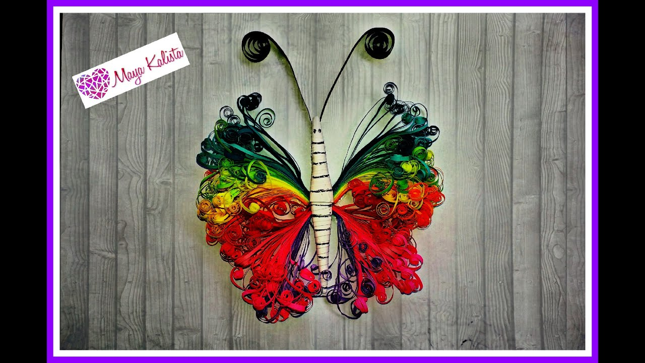 How to make DIY paper quilling DESIGNS - Paper Butterfly / art ... for Quilling Butterfly Tutorial  300lyp