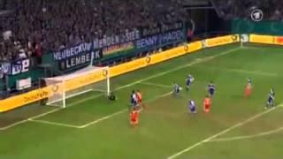 DFB-Pokal-Bayern vs. Schalke Robben Traumtor(Ganzer Lauf)