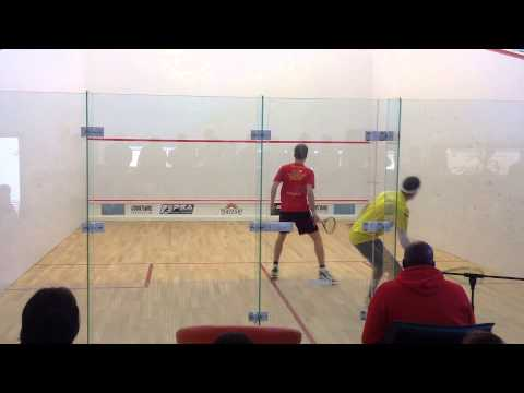 A rally from squash final PSA Courtwall Romanian Squash Open 2013: Jan Koukal vs Chis Ryder