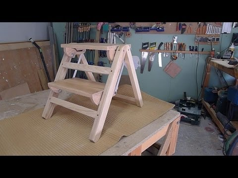 travail du bois fabrication d 39 un escabeau pliant how to make folding wooden stepladder. Black Bedroom Furniture Sets. Home Design Ideas