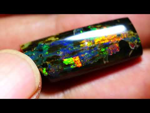 11.30 CRT AMAZING COLOR NEON PUZZLE WOOD FOSSIL INDONESIAN OPAL