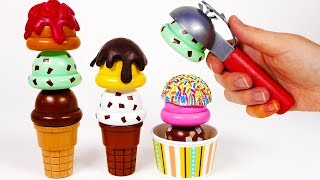 Ice Cream Stand with Cones and Scoops Toys for Children