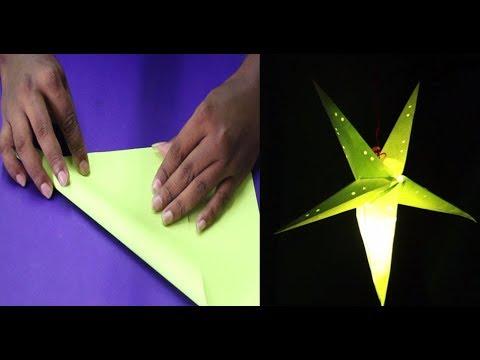 paper star making / DIY How to make Star Lantern Kandil For Diwali  Christmas Decoration