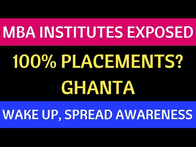 GHANTA 100% Placements in MBA Colleges. Wake up and Spread Awareness