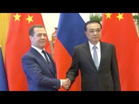 Chinese Premier Li meets Russian Prime Minister Dmitry Medvedev in Beijing