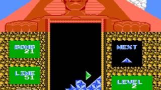NES - Pyramid (AVE) 100 Lines Gameplay ピラミッド ファミコン 100ライン消し