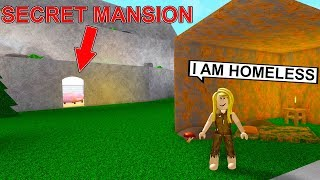 She Pretended To Be Homeless But Secretly Has A Huge Mountain Mansion! (Roblox)