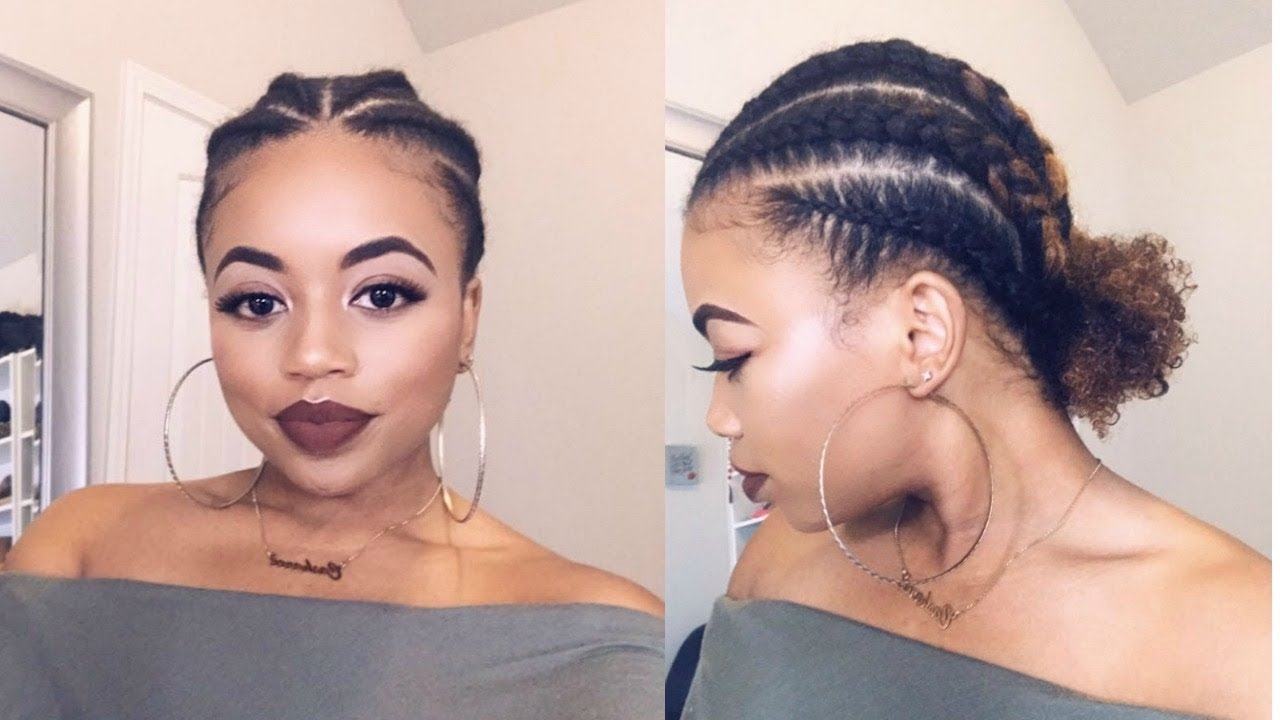 Cornrows Into Curly Bun Natural Hair Protective Style Youtube