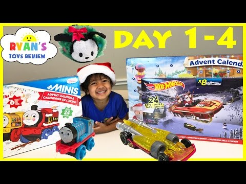 SURPRISE TOYS Christmas Thomas Train Disney Tsum Tsum Hot Wheels Toy Cars  Advent Calendar Day 1-4