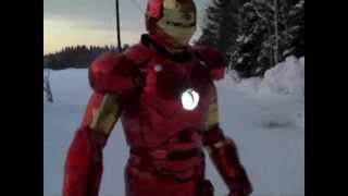 Iron man made out of cardboard and christmas paper - Suit up scene!