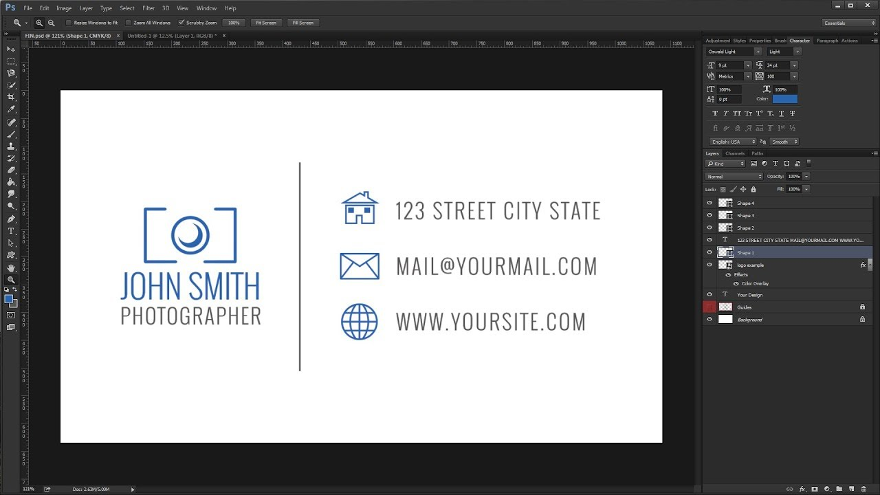 How to Create a Simple Business Card Design - Photoshop Tutorial ...
