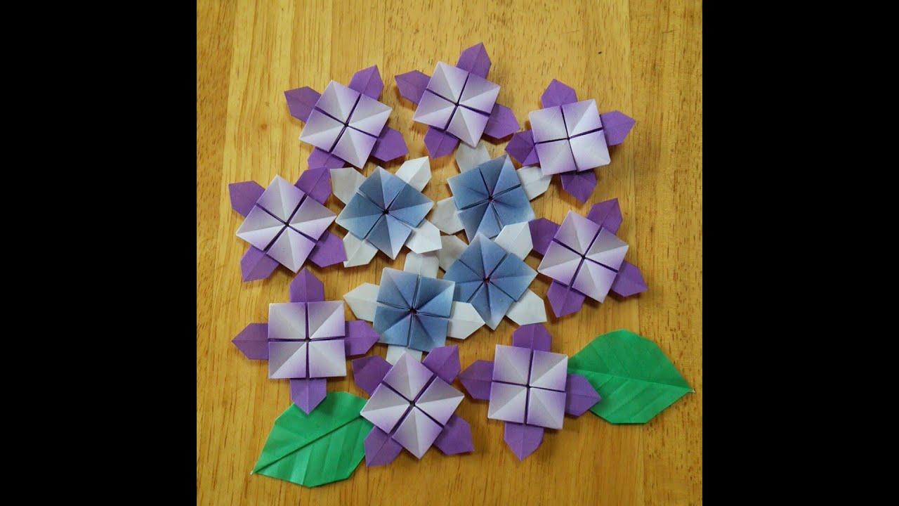 アジサイa改 説明無し 布の折り紙 おりがみ 折り紙 あじさい
