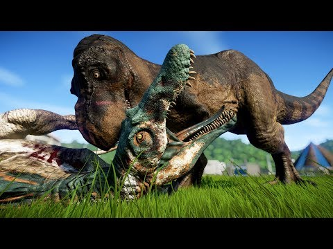 T Rex vs Spinosaurus, Baryonyx, Carnotaurus, Allosaurus, Carcha, Ceratosaurus - Dinosaurs Fighting