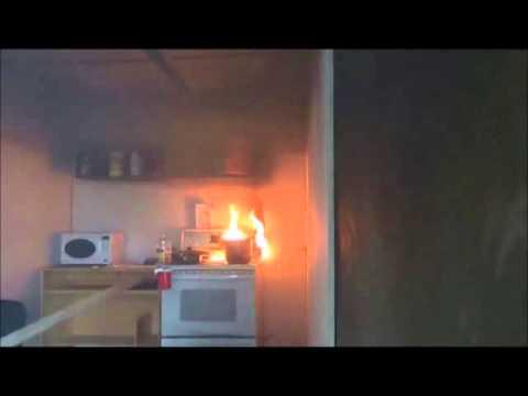 water on oil fire short